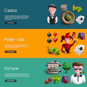 Set von drei kasino-fahnen