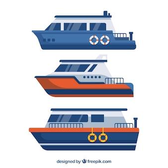 Set von drei kreuzfahrten in flachem design