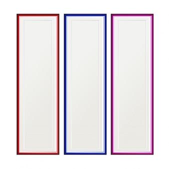 Set von drei multi farbigen bilderrahmen auf einem weißen hintergrund