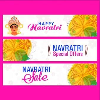 Set von drei navratri banner mit blumenschmuck