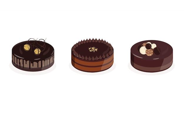 Set von drei premium-schokoladenkuchen