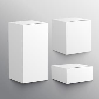 Set von drei realistischen leeren box mockup-vorlage