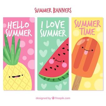 Set von drei sommerbannern mit süßen charakteren