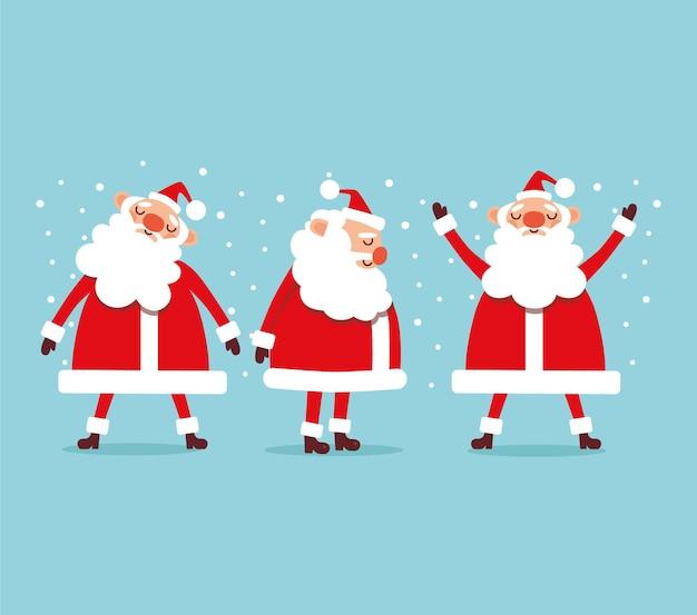 Set von drei süßen weihnachtsmännern auf blauem hintergrund