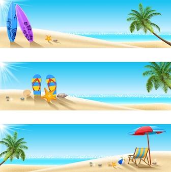 Set von drei tropischen strand