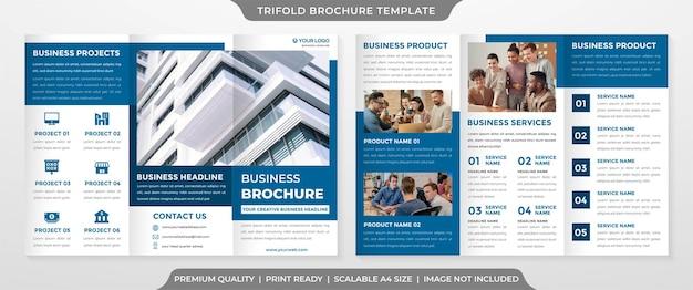 Set von dreifach gefalteten broschürenvorlagen im premium-stil