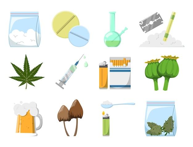 Set von drogen Premium Vektoren