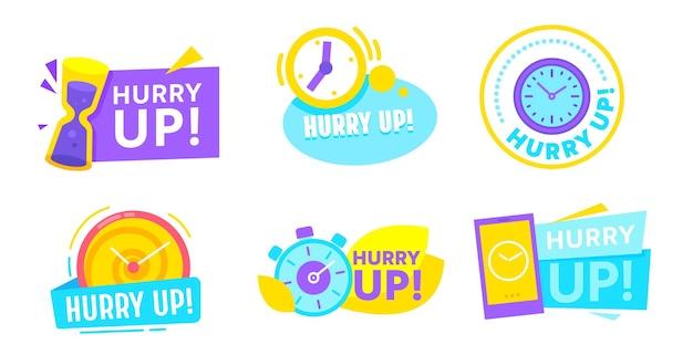 Set von eile-up-icons mit wecker und stoppuhr. sonderangebotsaktion, countdown zum einkaufen, marketingkampagne oder ladenverkauf, last-minute-rabattaktion, preisnachlass. vektorillustration