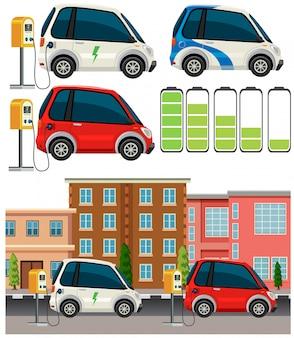 Set von elektroautos