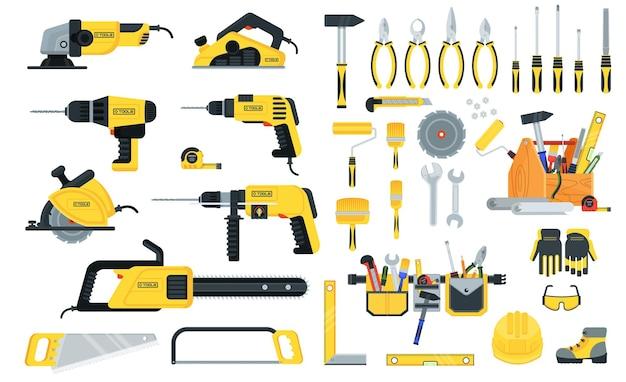 Set von elektrowerkzeugen und handwerkzeugen