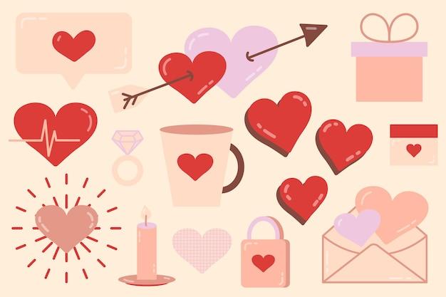 Set von elementen für den valentinstag. liebe-vektor-illustration. der 14. februar. zeichnungen für eine postkarte und ein banner. soziale netzwerke, online-kommunikation.