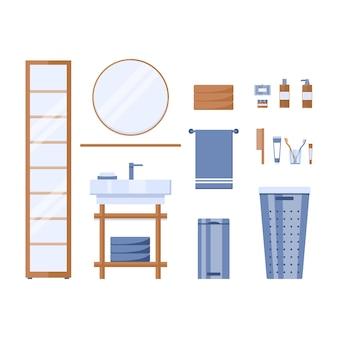 Set von elementen im badezimmer isoliert auf weißem hintergrund im flachen stil