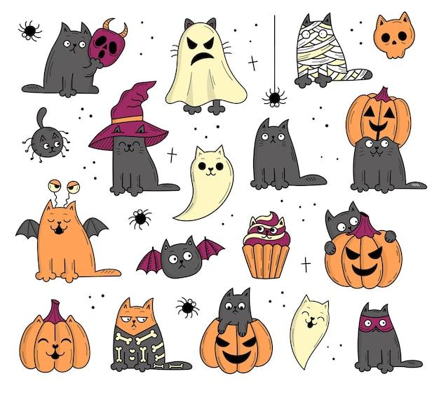 Set von elementen mit katzen für halloween. mystische gruselige objekte. katzen, kürbisse, geister, trank. illustration im doodle-stil