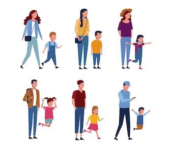Set von Eltern und Kindern