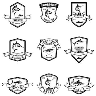 Set von emblemen zum hochsee-marlinfischen mar
