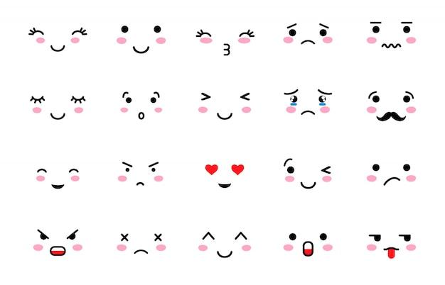 Set von emoji mit unterschiedlicher stimmung.