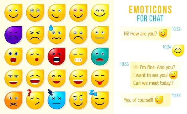 Set von emoticons emoji für den chat