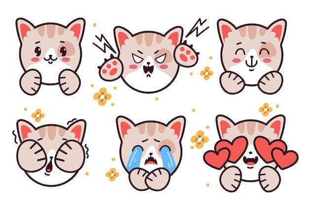 Set von emoticons niedlichen kitty cat emoji-aufkleber isoliert auf weißem hintergrund vector flache cartoon-grafik-illustration