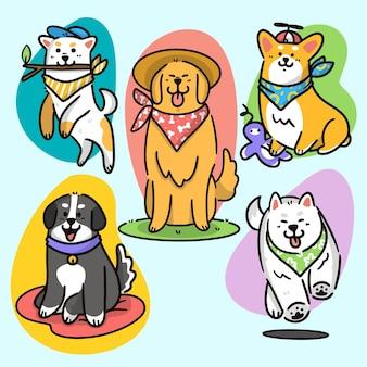 Set von entzückenden hunden und welpen aktivitäten premium-doodle-illustration