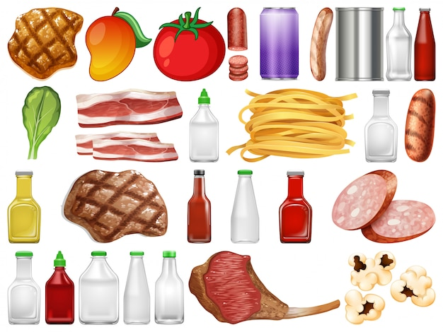 Set von essen und behälter