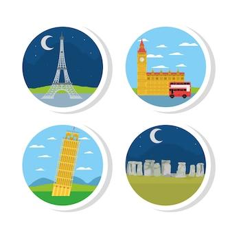 Set von europa denkmälern