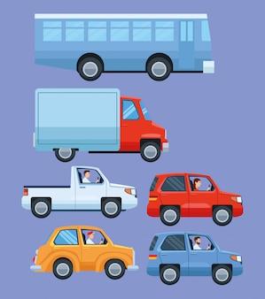 Set von fahrzeugen und transportmitteln