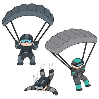 Set von fallschirmspringer