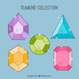 Set von farbigen diamanten