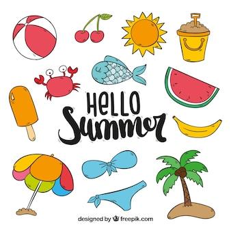Set von farbigen sommerartikeln in handgezeichneten stil
