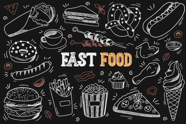 Set von fast-food-doodles auf tafel burger donuts hähnchenschenkel eis pizza etc