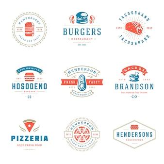 Set von fast food oder burger shop logos