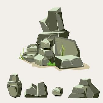 Set von felsen. stein mit gras. isometrische flache art 3d der karikatur. set verschiedene felsbrocken
