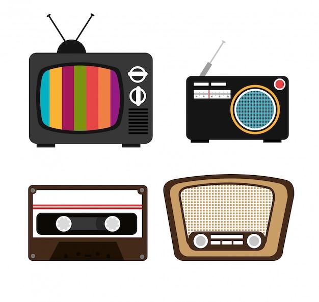 Set von fernseher, kassette, radio, lautsprecher