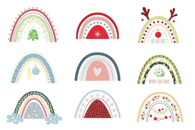 Set von festlichen regenbögen und anderen weihnachtselementensaisonaler clipart-satz von süßem weihnachtsregenbogen