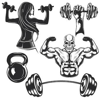 Set von fitness-studio-elementen zum erstellen eigener abzeichen, logos, etiketten, poster usw.