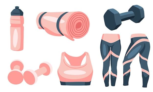 Set von fitnesskleidung und accessoires in blauen und rosafarbenen farben, illustrationsdesign