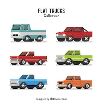 Set von flach pickup-trucks