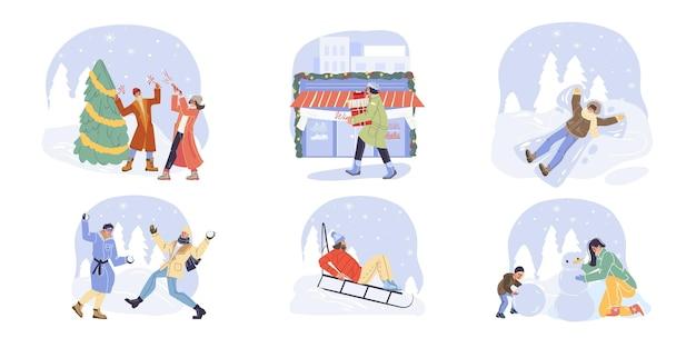 Set von flachen cartoon-familienfiguren, die winteraktivitäten im freien machen doing