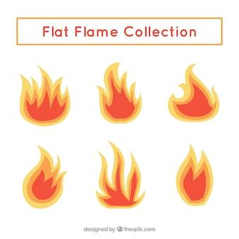 Set von flammen in flaches design