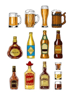 Set von flaschen und stemware mit alkohol