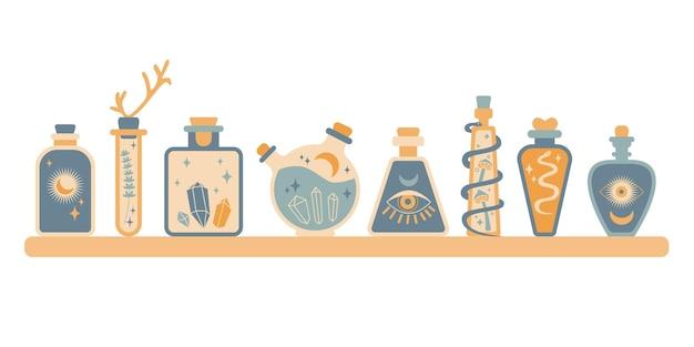 Set von flaschensilhouette mit magischem elixiergift mit sonnenmondschlangen-pilzaugen-edelstein