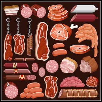 Set von fleischprodukten. vektor
