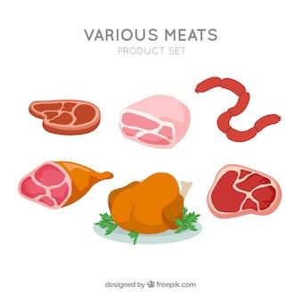 Set von fleischprodukten