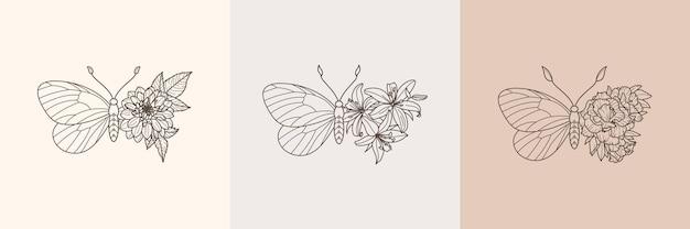 Set von floralen schmetterlingssymbolen in einem linearen minimalistischen trendigen stil. vektorumriss emblem der flügel mit blumen zum erstellen von logos von schönheitssalons, t-shirt-druck, wandkunst, postkarte