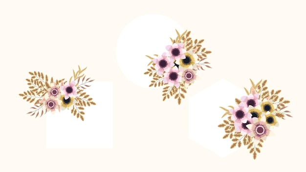 Set von floralen vektorelementen und blumenrahmen detailliert für grußkarten hochzeitseinladungen
