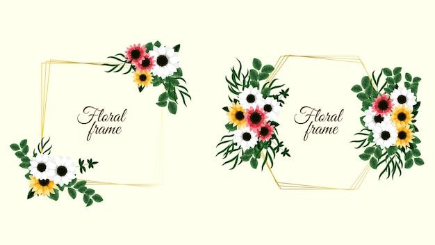 Set von floralen vektorelementen und blumenrahmen im detaillierten stil für grußkarten