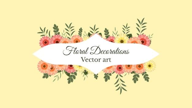 Set von floralen vektorelementen und blumenrahmen im detaillierten stil für social-media-verkaufsanzeigen