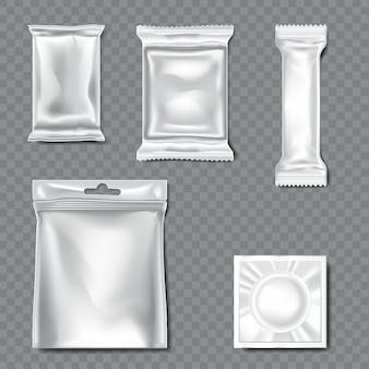 Set von flow-pack auf transparentem hintergrund