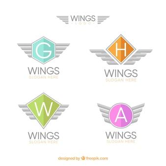 Set von flügel logos mit farbigen formen
