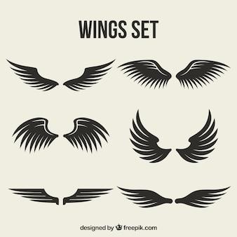 Set von flügeln mit verschiedenen designs